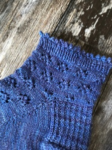 Picot cast-off on blue Party As a Verb handknit socks