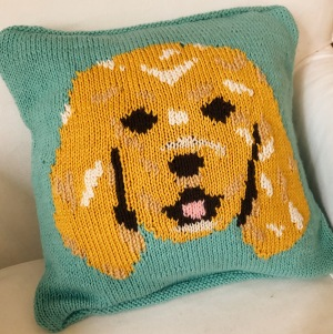 A light teal cushion with a knitted spaniel dog on it