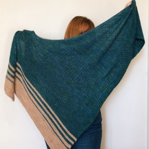 Large green garter stitch and textured triangle shawl